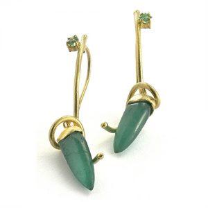 ほのか honoka エメラルド emerald 展覧会 原石 earrings ピアス