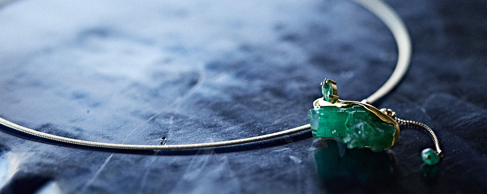 Colombia Raw Emerald Necklace